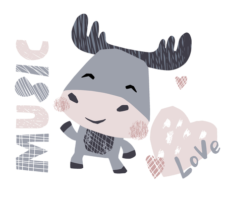 Moose baby dance cute print. Sweet animal listen to music. Disco retro party. Cool illustration for nursery poster, t-shirt, kids apparel, party and baby shower invitation. Simple child design