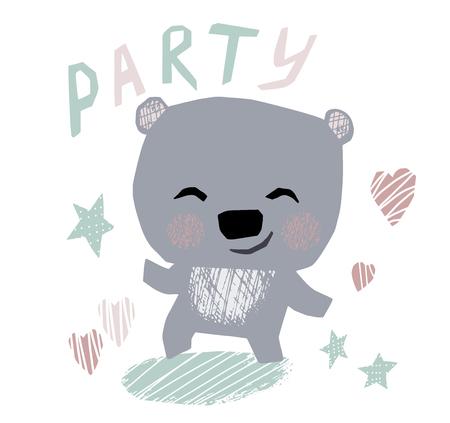 Bear baby dance cute print. Sweet teddy listen to music. 向量圖像