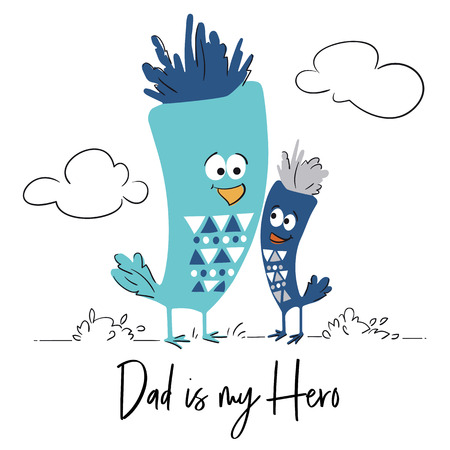 Dad and son bird cute print. Father and baby together. Cool animal illustration for t-shirt, kids apparel, nursery, child party invitation. Simple design. Line landscepe. Summer time 向量圖像