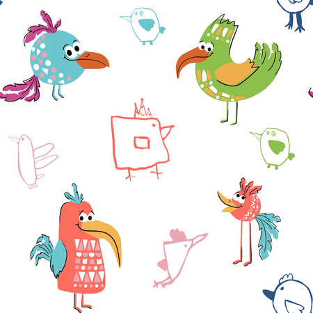 Bird cute seamless pattern with child drawing elements. Stylized cool animal illustration for t-shirt print, kids apparel nursery, child party invitation. Simple scandinavian design. Summer time print