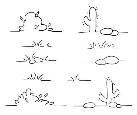 Line landscape scene elements. Stylized skyline illustration. Simple outline design. Doodle grass, bush, cactus and rocks Illustration