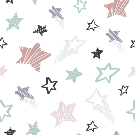 Star seamless pattern. Cool illustration for nursery t-shirt, kids apparel, baby print, party invitation. Simple child design