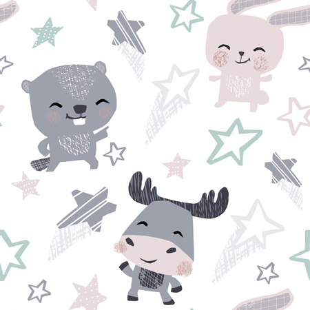Bunny, beaver moose, baby dance seamless pattern. Sweet animals listen to music. Disco retro party. Cool animal illustration for nursery t-shirt, kids apparel, baby print, birthday party invitation
