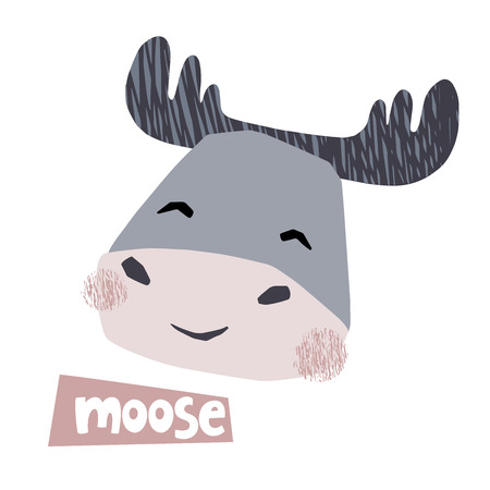 Moose head baby cute print. Sweet animal character face. Cool illustration for nursery poster, t-shirt, kids apparel, baby party invitation. Simple child design