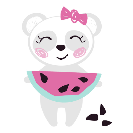 Panda baby girl with watermelon cute summer print. Sweet bear with fresh fruit, bow. 向量圖像