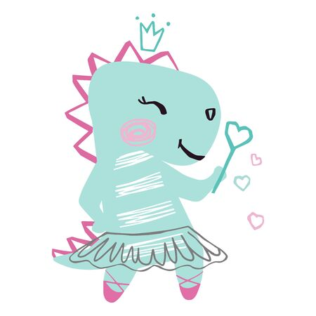 Dinosaur baby girl cute print. Sweet dino with magic wand, crown, ballet tutu, pointe shoes.