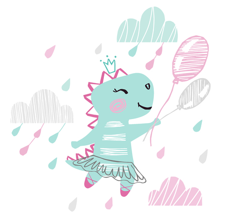 Dinosaur baby girl cute print. Sweet dino flying on balloons among clouds with ballet tutu, pointe, shoes. 向量圖像