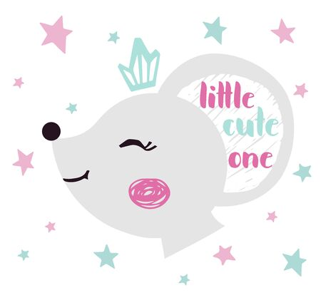 Mouse baby girl face cute print. Sweet animal head with crown and little cute one nice slogan.