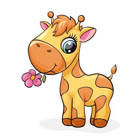 Giraffe baby cute print. Sweet tiny zoo. Cool african animal with flower illustration for nursery t-shirt, kids apparel, birthday card, invitation. Simple for pajamas and playroom decor 版權商用圖片 - 126422785