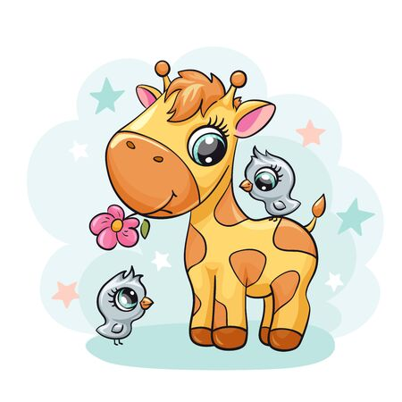 Giraffe baby with bird and flower cute print. Sweet tiny friends with star. Cool african animal illustration for nursery t-shirt, kids apparel, birthday card, invitation. Simple for pajamas and playroom decor 版權商用圖片 - 126425660