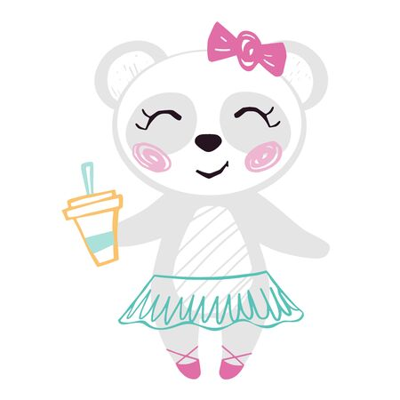 Panda baby girl cute summer print. Sweet bear with coffee cup ballet tutu, pointe shoes, bow. Cool illustration for cafe menu design, coffee house decor, nursery wallpaper, t-shirt, birthday card