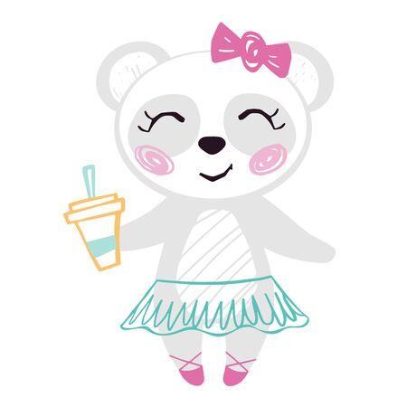 Panda baby girl cute summer print. Sweet bear with coffee cup ballet tutu, pointe shoes, bow. Cool illustration for cafe menu design, coffee house decor, nursery wallpaper, t-shirt, birthday card 版權商用圖片 - 131978768