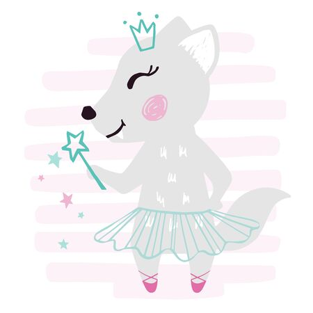 Wolf baby girl cute print. Sweet she-wolf with magic wand, ballet tutu, pointe on striped background. Cool animal illustration for nursery, t-shirt, kids apparel, birthday card. Simple girly design