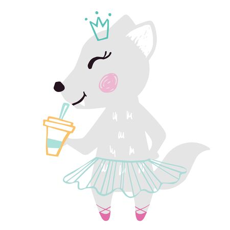 Wolf baby girl cute summer print. Sweet she-wolf with coffee cup ballet skirt, crown. Cool illustration for cafe menu design
