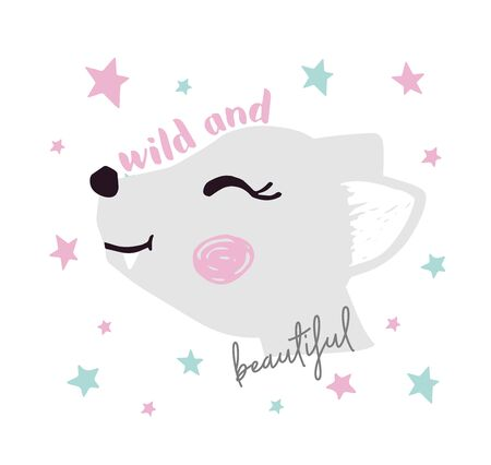 Wolf baby girl face cute print. Sweet she-wolf head with wild and beautiful slogan. Star background. Cool animal illustration for nursery t-shirt, kids apparel, birthday card, invitation. Girly design Archivio Fotografico - 128096100