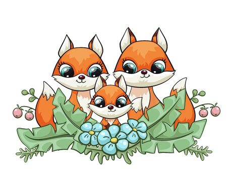 Fox baby with mom and dad cute print. Sweet tiny family. Cool friends animal with forest flower Illustration