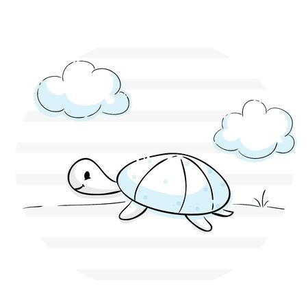 Turtle baby cute print. Sweet tiny tortoise with clouds landscape, stripes. Little animal illustration for nursery t-shirt, kids apparel, birthday card, invitation, infantile pajamas, playroom decor