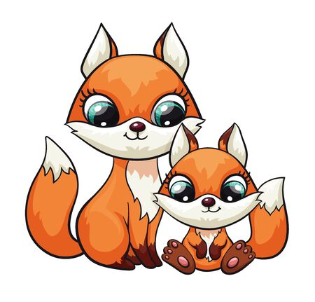 Fox baby with mom or dad cute print. Sweet tiny family. Cool friends animal illustration