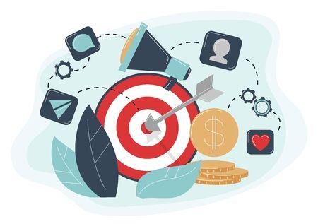 Behavioral Targeting Konzept Pfeil traf Ziel, Megaphon. Zielgruppe zum Kundenverhalten: Likes, Kommentare, Reposts, Abonnement Vektorgrafik