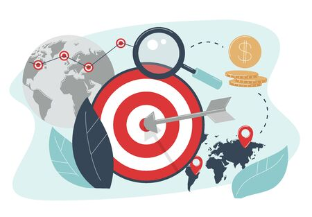 The concept of geographical targeting. Arrow hit target. Advertising settings for the target audience by location.