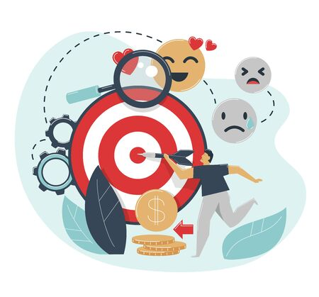 Emotional targeting concept. Man hits target with dart. Advertising emotions settings for target market, audience.