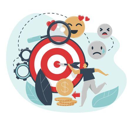 Emotional targeting concept. Man hits target with dart. Advertising emotions settings for target market, audience. Ilustracje wektorowe
