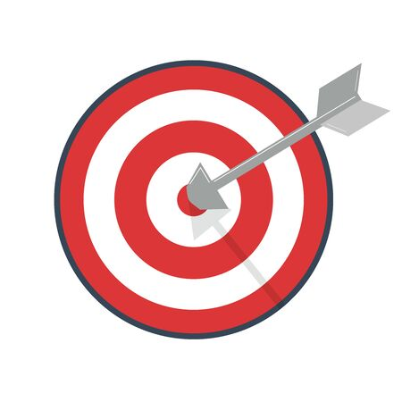 Targeting concept. Hit target. Competition winning, setting goal, achievement, victory business. 向量圖像