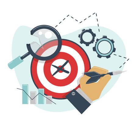 Mistaken targeting concept. Broken magnifier, gear. False target. Defeat in competition, disbelieving goal setting, stagnation of business 版權商用圖片 - 131978798