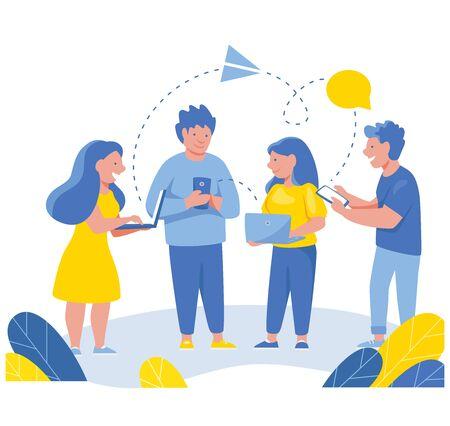 Business people communication via Internet, social media, networking. Group of businessmen hold mobile meeting. 版權商用圖片 - 131978801