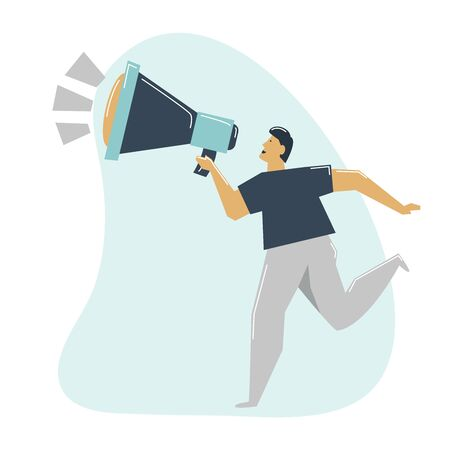 Man sends advertising message by megaphone sends oncept. Messages for the target audience. 版權商用圖片 - 131978806