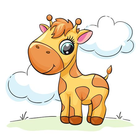 Giraffe baby cute print. Sweet tiny zoo. Cool african animal with clouds