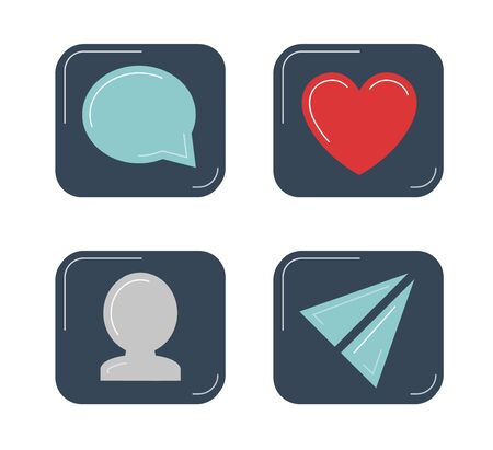 Social networks icons set. Post or comments, new subscribers, likes and reposts