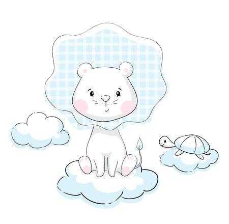 Lion and turtle on cloud baby cute print. Sweet tiny animals. Little animal illustration Illustration