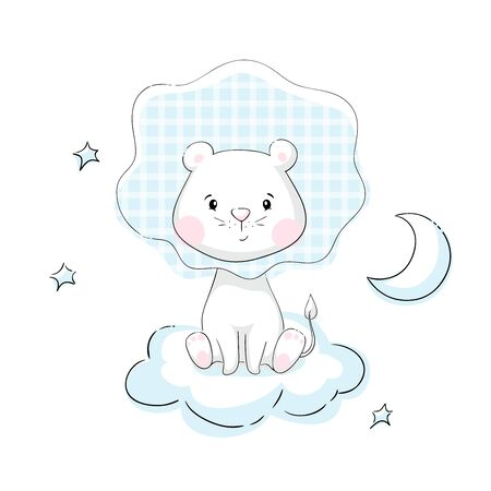 Lion baby cute print. Sweet tiny animal with star, clouds and moon. Little night sky illustration