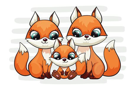 Fox baby with mom and dad cute print. Sweet tiny family. Cool friends animal on striped background for nursery t-shirt, kids apparel, birthday card, invitation. Good for pajamas and playroom decor 版權商用圖片 - 130220200