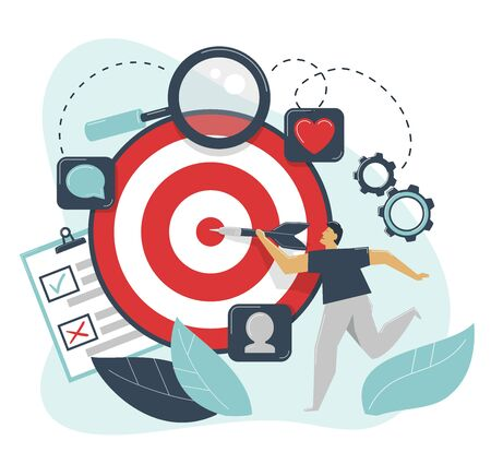 Behavioral targeting concept. Man hit target dart. Audience on customer behavior: likes, comments, reposts, subscription.