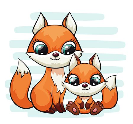 Fox baby with mom or dad cute print. Sweet tiny family. Cool friends animal on striped background 版權商用圖片 - 131978827