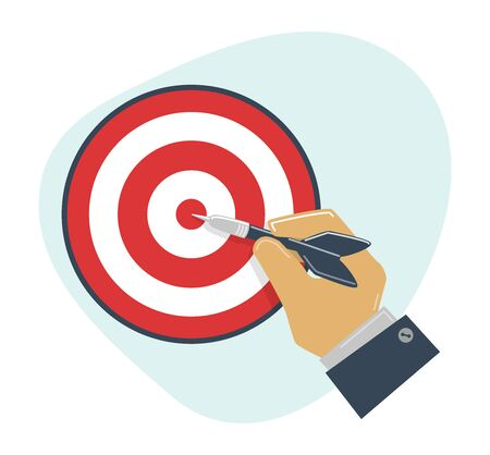 Targeting concept. Hit target. Hand holds dart. Competition winning, setting goal, achievement, victory business.