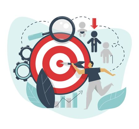 The concept of demographic targeting. A man hits a target with a dart. Advertising settings for the target audience by gender, age, income.