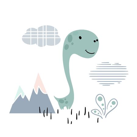 Dinosaur baby cute print. Sweet dino boy with mountain landscape. 向量圖像