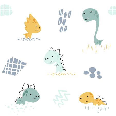 Dinosaur baby cute seamless pattern. Sweet dino boy with abstract shapes. Cool summer prin