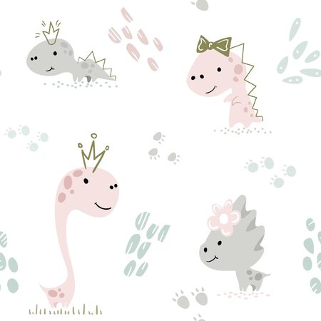 Dinosaur baby girl cute seamless pattern. Sweet dino princess with crown. 向量圖像