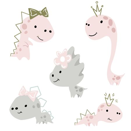 Dinosaur baby girl cute print set. Sweet dino princess with crown and bow.