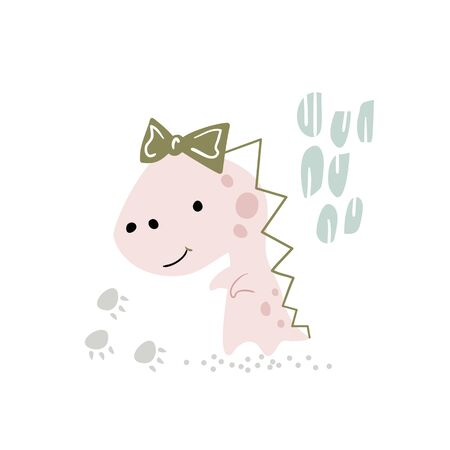 Dinosaur baby girl cute print. Sweet little dino with bow.