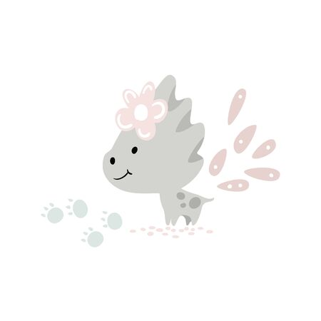 Dinosaur baby girl cute print. Sweet dino princess with flower.