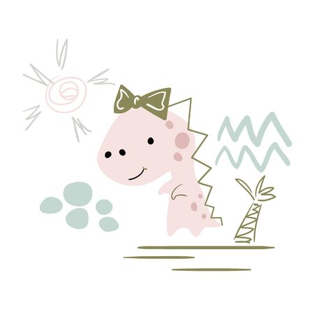 Dinosaur baby girl cute print. Sweet dino with bow. 向量圖像