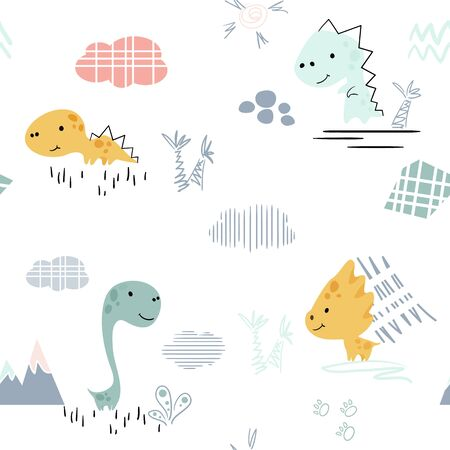 Dinosaur baby cute seamless pattern. Sweet dino boy with palm tree. Beach cool summer print