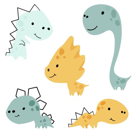 Dinosaur baby cute print set. Sweet little dino. Cool illustration for nursery, t-shirt, kids apparel 向量圖像