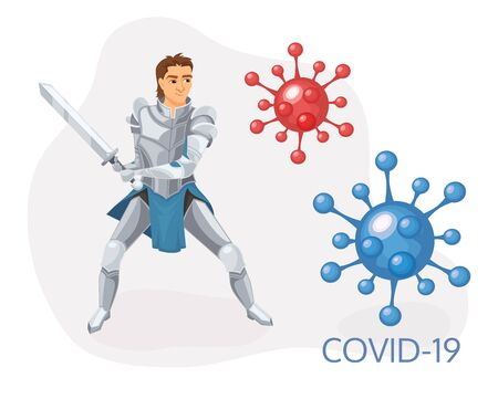 People fight virus concept. Cartoon man character fighting with virus. 向量圖像