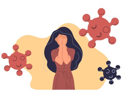 Woman are in anxiety and fear corona virus. Covid-19 virus illustration 向量圖像